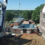 Modular Crane setting a module for a dormitory