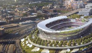 Proposed temporarily permanent building for stadium